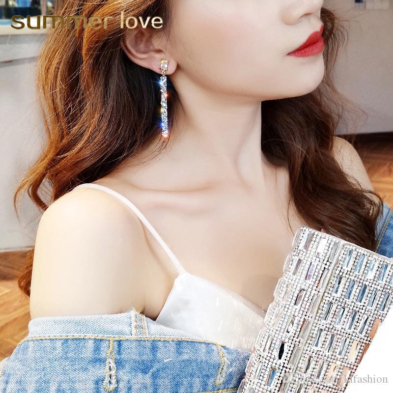 2019 New Fashion Full Rhinestone Crystal Zircone Classico Geometrico Orecchini pendenti lunghi per donna Gioielli femminili Orecchini semplici coreani