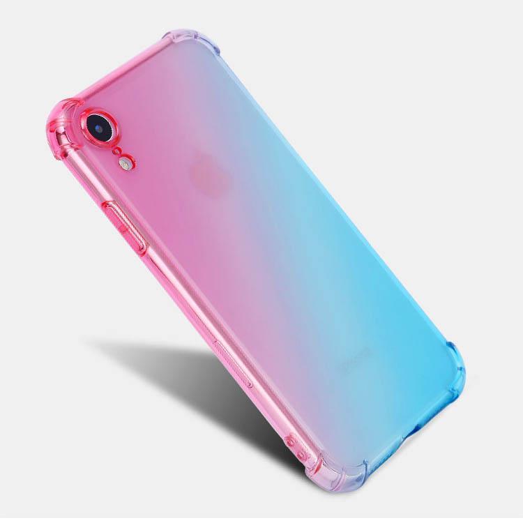 Thin antichocs Couleur Téléphone Case pour iPhone XR double gradient souple TPU 4 coins couverture pour l'iphone 11 Pro Max X XS 8 7 6 6S plus
