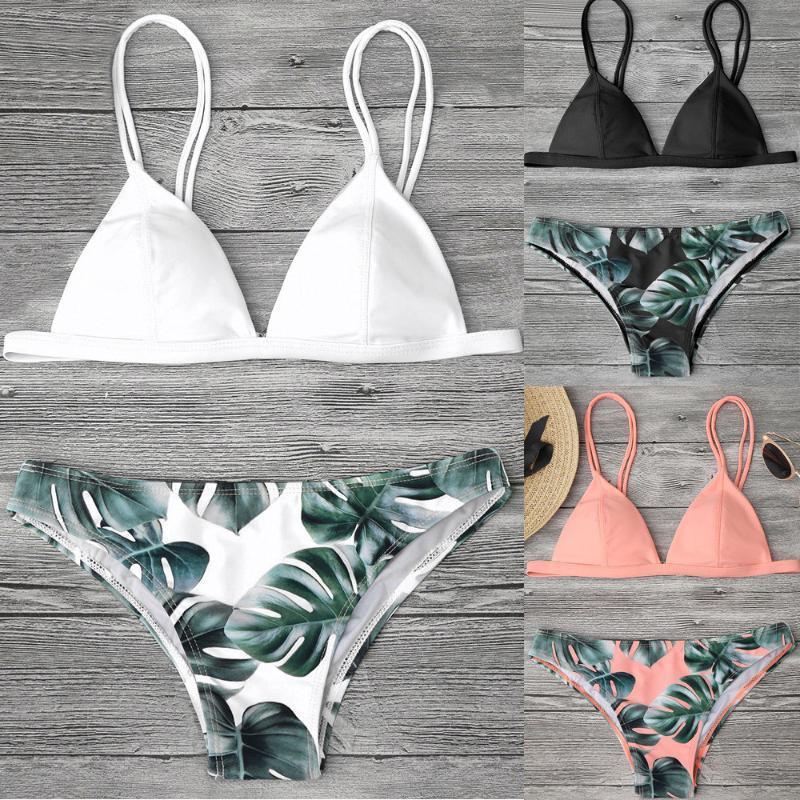 das mulheres terno de natação Sexy Bikini Swimsuit Swimwear Bikini Set Leaves Impressão Push-Up acolchoado de banho Swimsuit Beachwear # 6