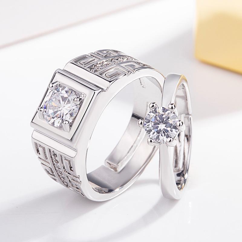 Strass Prata Anéis Ajustáveis de Cristal Cubic Zirconia Casal Anéis Amante Abertura Anéis de Casamento Jóias Favor de Partido
