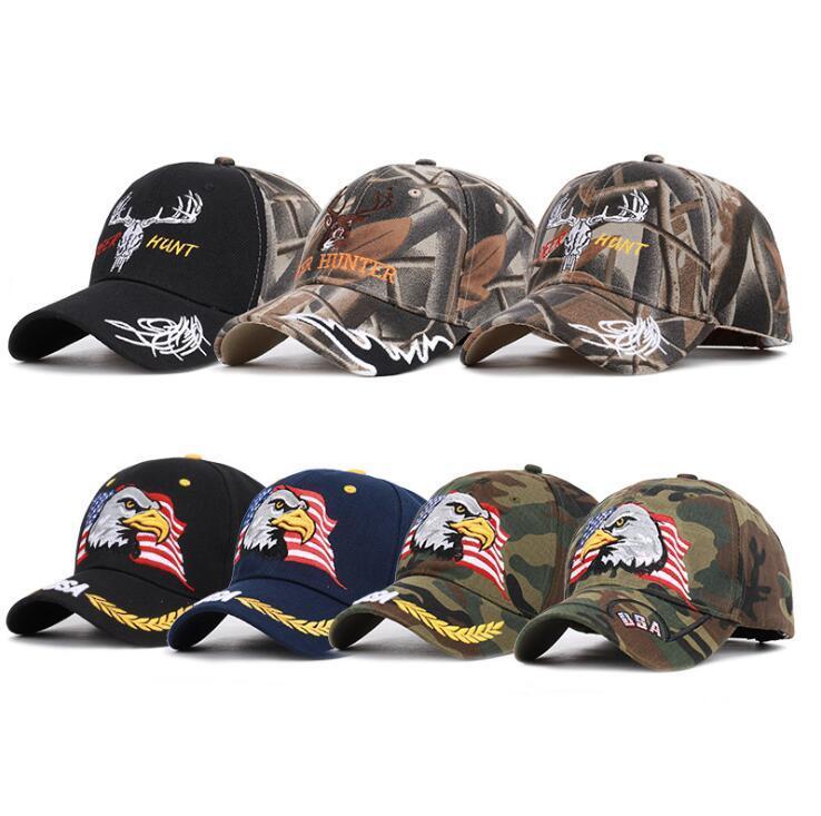 Amerikanische flagge baseball cap 11 arten adler stickerei snapback camo outdoor sports taktische hüte party hut ooa6792