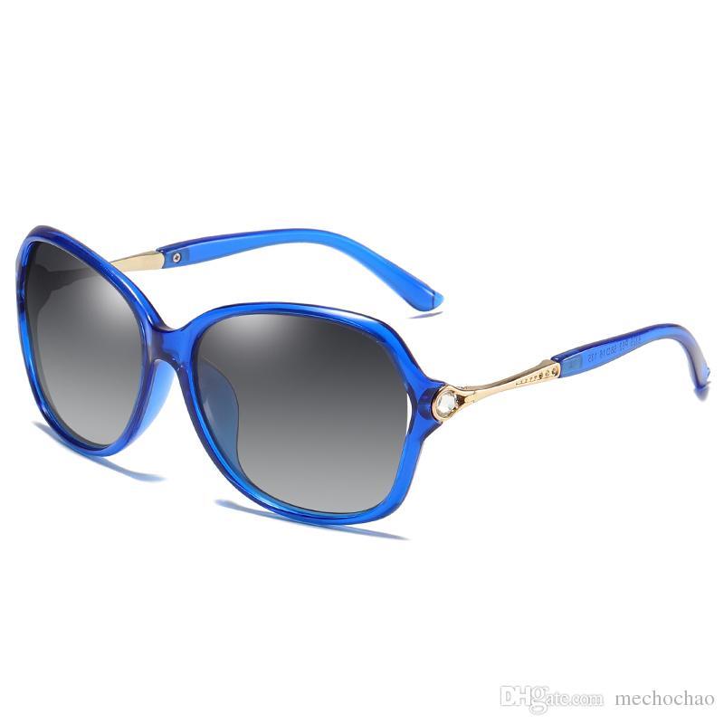 Frauen-Marken-Entwerfer polarisierte Sonnenbrille Frauen-Mode-große Feld polarisierte Sonnenbrille High-End-Dame die Sonnenbrille fährt Freies Verschiffen 19