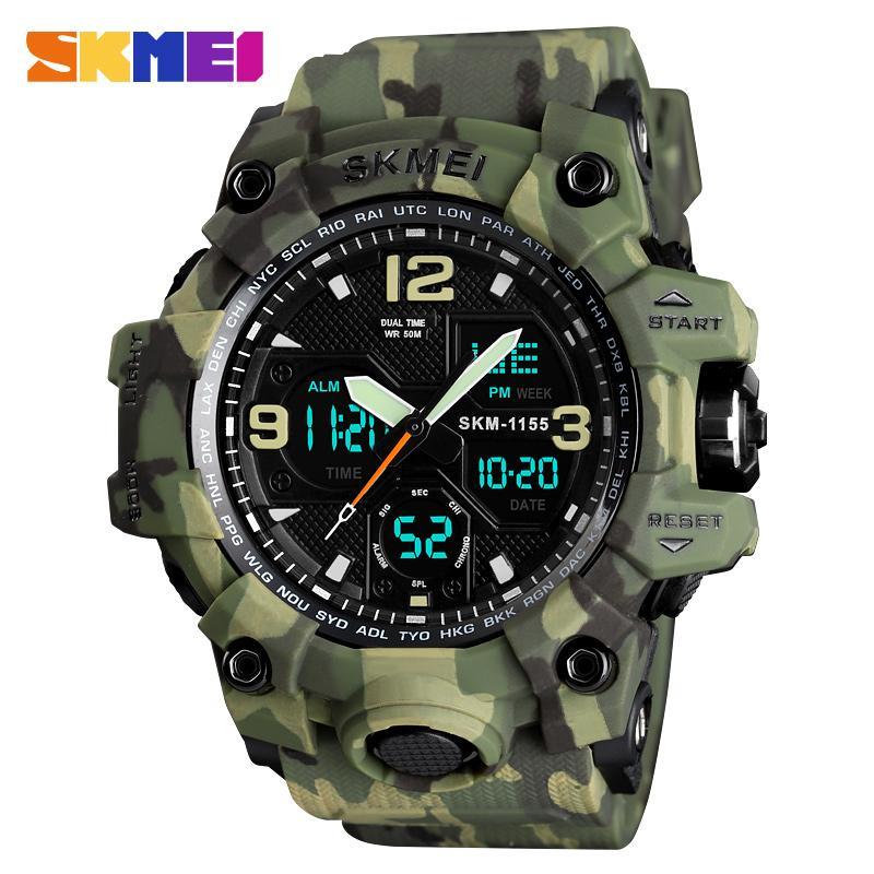 Lüks SKMEI Askeri Ordu Erkekler su geçirmez Spor Saatler Moda Dijital Kuvars İzle Erkekler Saat relogio masculino LY191213 Kol saatı