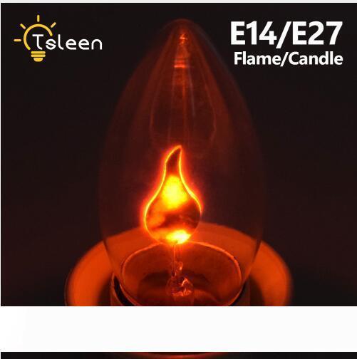E14 E27 ретро LED Edison Лампочки LED эффект пламени пожара свет Мерцание пламени лампы Сымитированный партии Рождество Декор AC220-240V