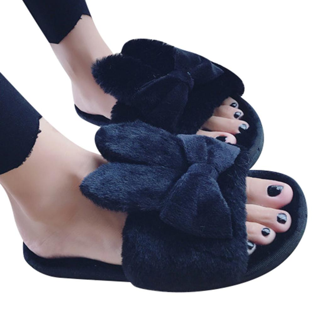 Женская Главная крытый новые теплые зимние тапочки обувь женщина плоские хлопчатобумажные тапочки лук открытым носком меховой дом обувь плюс размер
