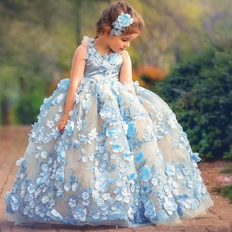 Fabulosa de color azul celeste del niño desfile de vestidos de cuello de la joya sin mangas mullidas niñas desfile de vestidos de hadas florales 3D Apliques vestidos de flores niña