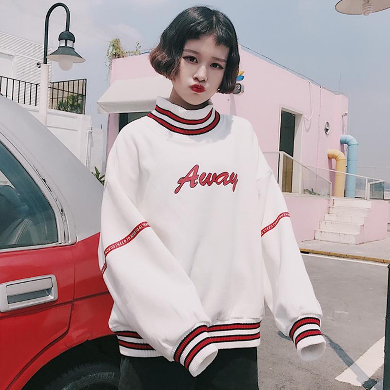 Lettre Imprimé Hoodies Sweat Femmes Automne Coréen Harajuku Polaire Col Roulé À Capuche Sweat Top À Manches Longues 2019 V564 SH190914