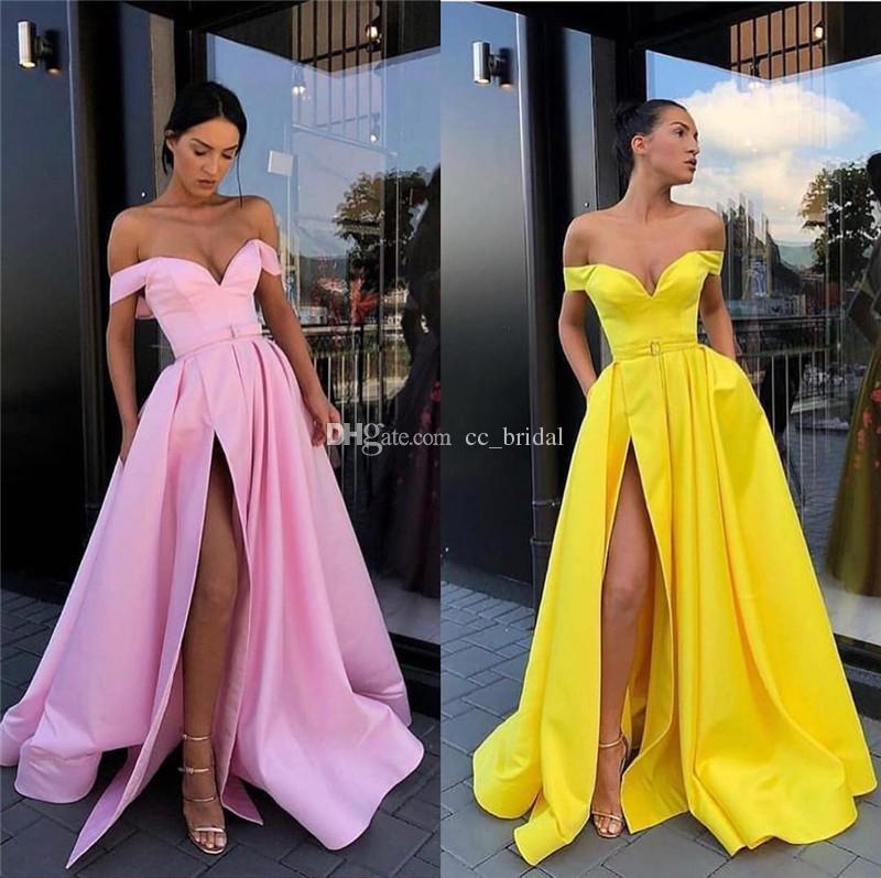 77d49b479da8 Vestidos de fiesta rosa amarillo 2019 Longitud del piso largo Raja lateral  Fiesta Vestido de cóctel Barato Menos de 100 vestidos de noche formales ...
