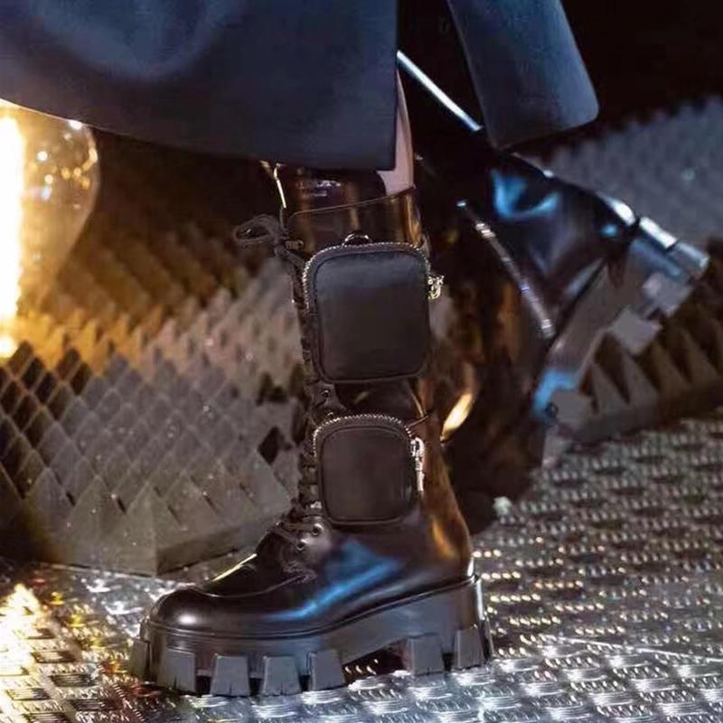 Femme Plate-forme Punk Bottes avec des poches en cuir noir à bout rond Bottines à lacets pour femme Biker chevalier fond épais