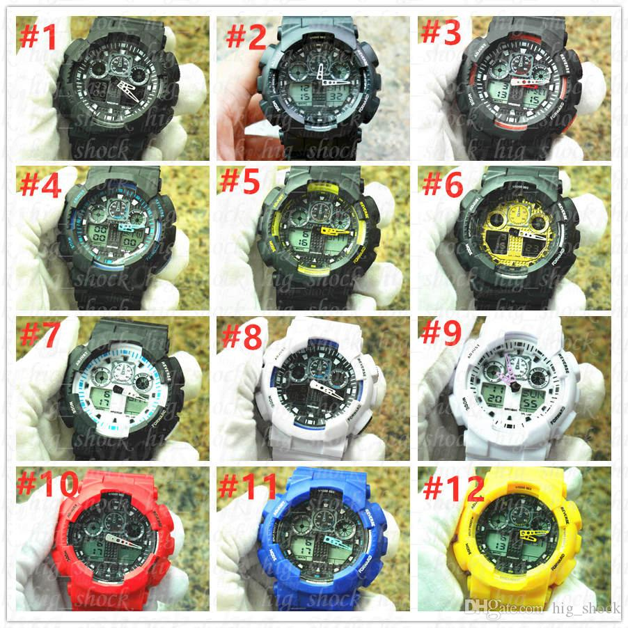 armbanduhr 5pcs / lot der Artmarkenmänner Sport Doppelanzeige GMT Digital LED reloj hombre Armee-Militäruhr relogio masculino dropship
