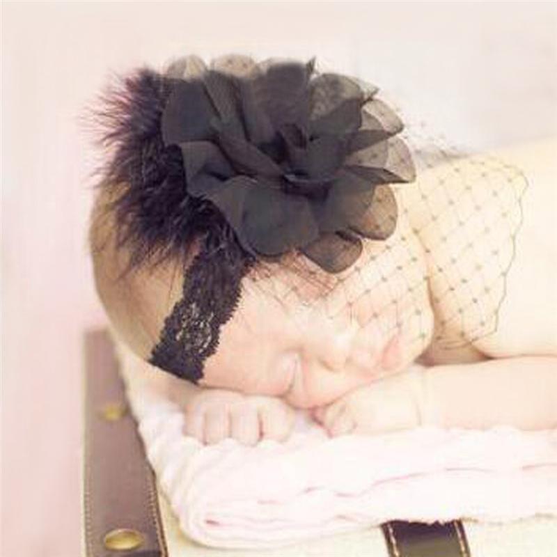 Newest Baby Girls Headband Lace Fishnet Feather Flower Headband Infant Headband Hair Band Children Hair Accessories Headwear Kha280
