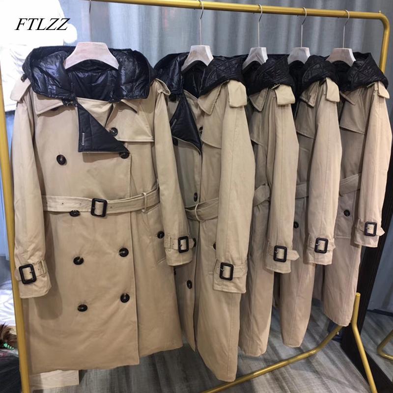 FTLZZ 90% Branco Duck Down longo Parkas Inverno Mulheres com capuz casaco quente casaco com cinto de neve Outwear Abotoamento Windbreaker