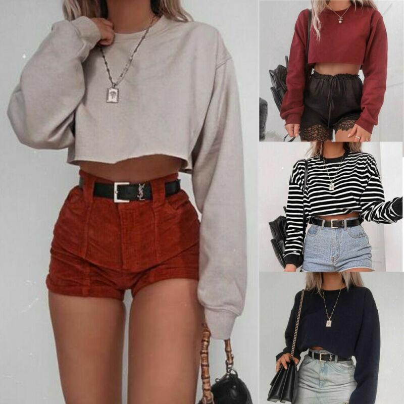 Crop Top de manga larga casual de las señoras de las mujeres sueltan la blusa de la camisa de algodón a rayas suéter superior Streetwear