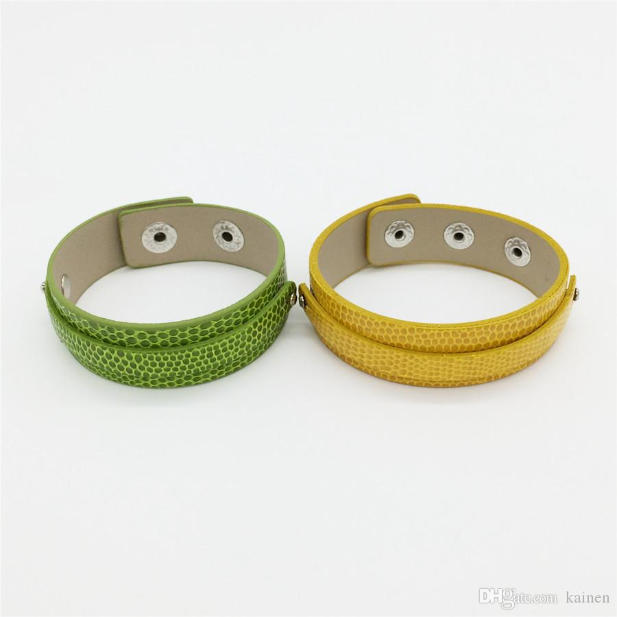 Zoukaen Sales 18+8MM PU leather Snaps Wide Snake Wristband Bracelets Fit 8MM Slide Charms Slide Letters Mixed Colors WB08