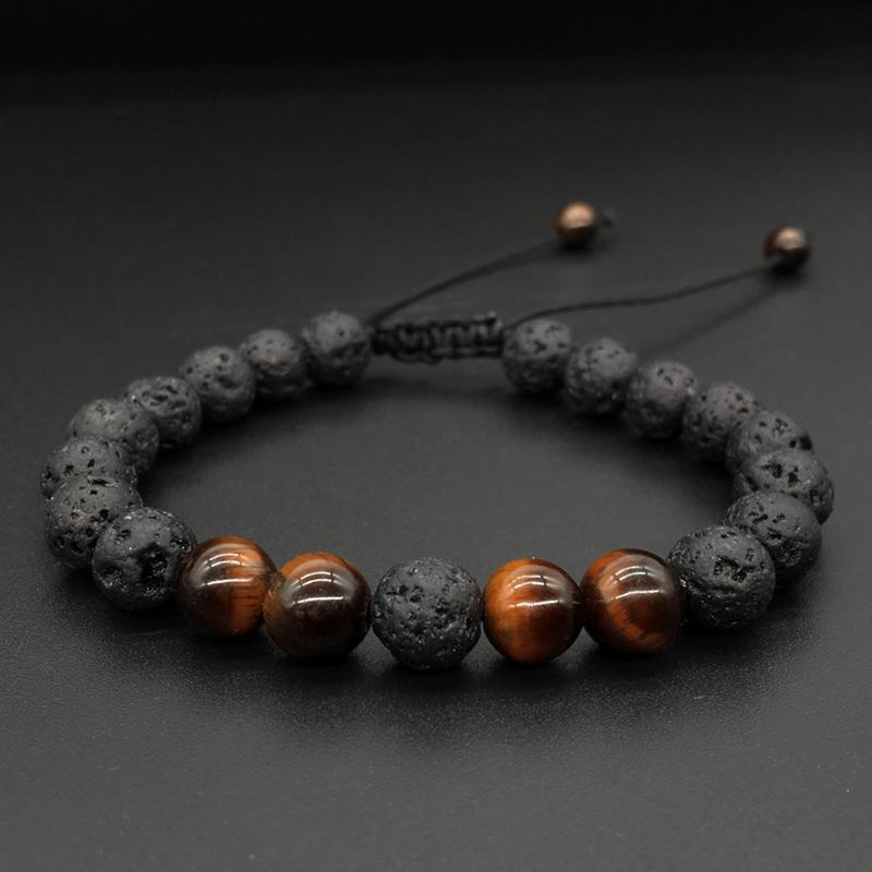 Uomo Donna 8mm Bracciale con diffusore di olio essenziale di ansia aromaterapia Lava Rock Braccialetto intrecciato in corda di yoga con pietre naturali