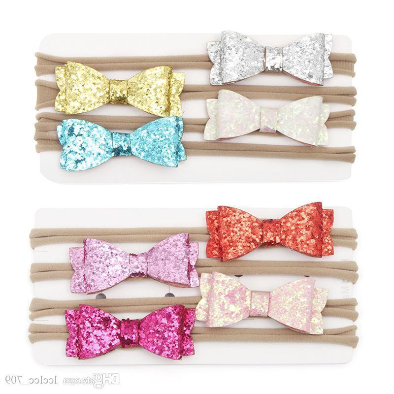 Fashion 2.4inch Sequins Glitter Head Wrap Artificial Leather Litchi Stria Bows Nylon Soft Baby Girls Headband Best Quality Best Price
