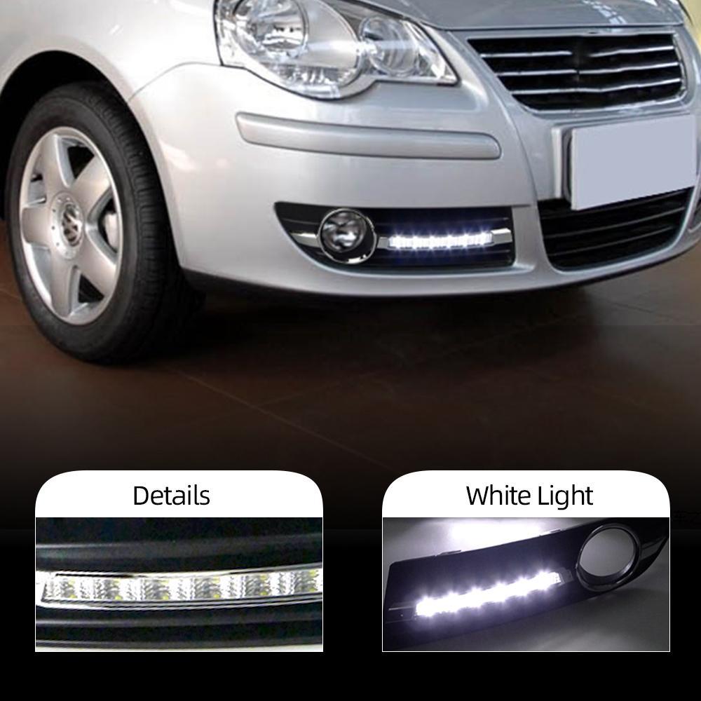2adet İçin Volkswagen Polo 9N3 2005 2006 2007 2008 2010 LED DRL Gündüz Farı Sürüş Daylight lamba araba Şekillendirme