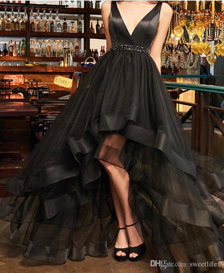2020 Noir Haut Bas Robes de bal col en V manches Tulle Salut-Lo Vestidos De Fiesta Sexy SOIRÉE Robes