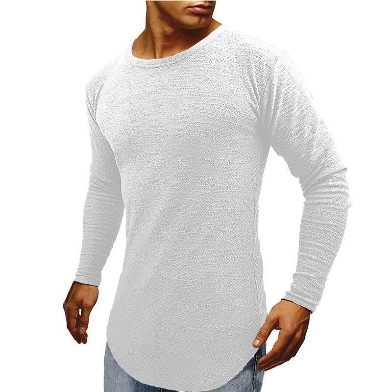 Sıcak Satış Mens Longline Kavisli Tasarımcı tişörtleri İlkbahar Sonbahar Muscle Slim Fit Uzun kollu tee Tops