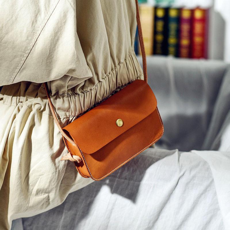 cuir Mini petit sac à la main en cuir tannage végétal rétro littéraire femme sac à bandoulière