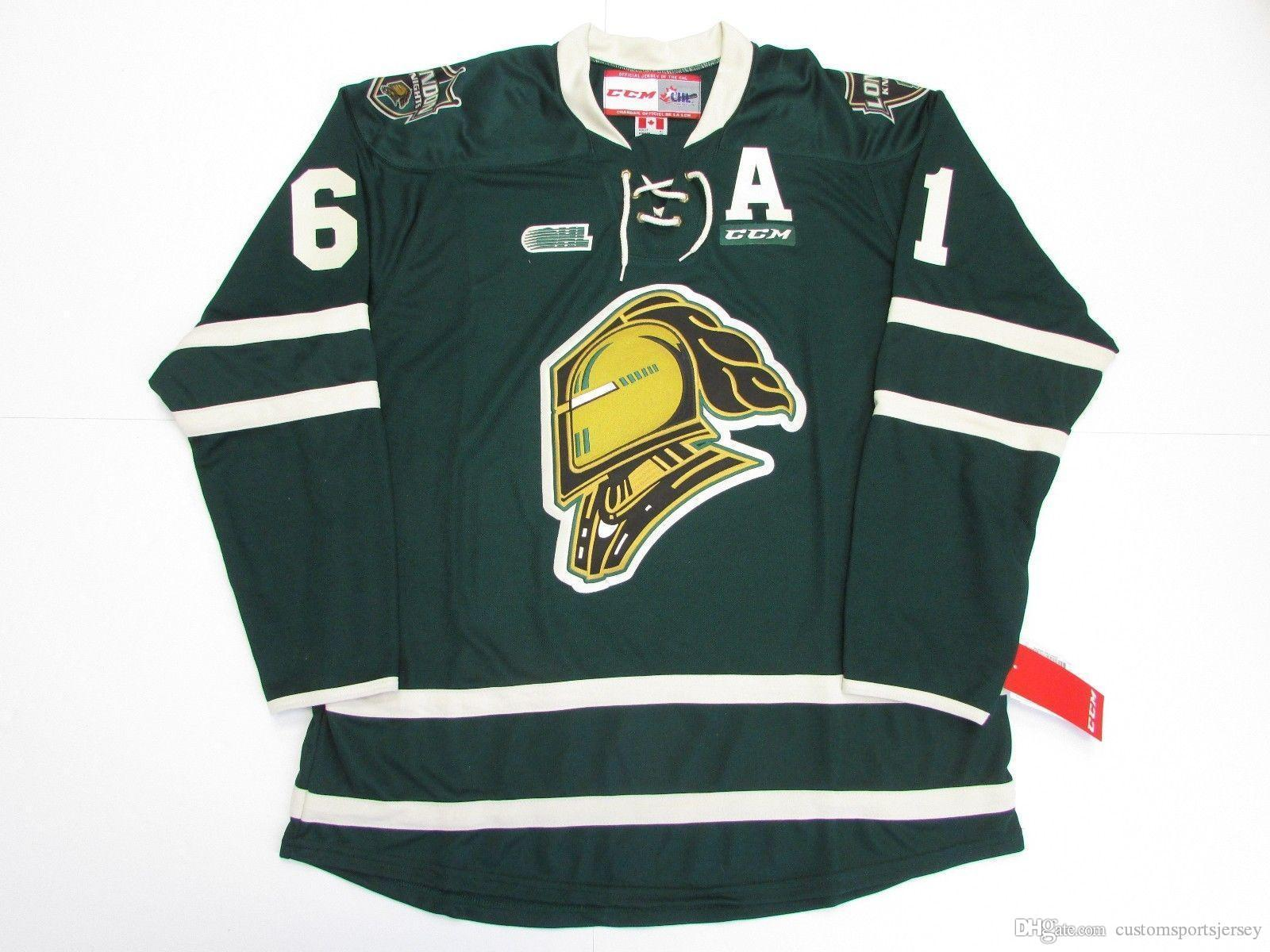 Cheap custom RICK NASH OHL LONDON KNIGHTS GREEN CCM HOCKEY JERSEY stitch add any number any name Mens Hockey Jersey XS-5XL