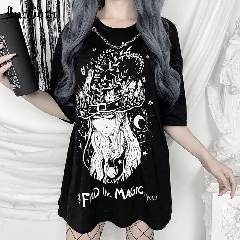 InsGoth T-shirts vintage gothique vintage Swith Imprimer Loose Women Tops T-shirts Streetwear Casual Oversize O-cou T-shirts Tops T200512