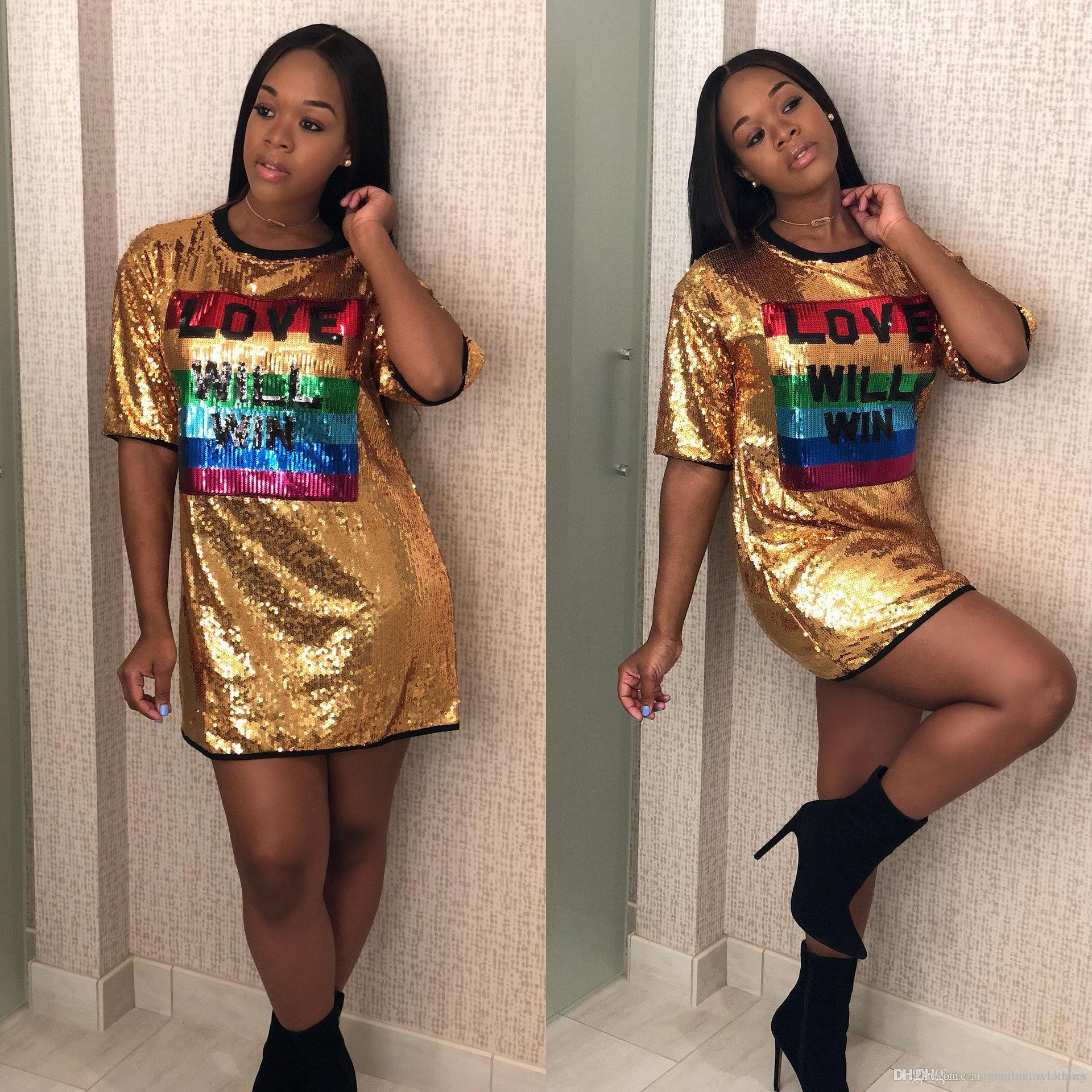 Kadınlar Kulübü Pullu Elbise Günlük Gevşek seveceksiniz WIN Mektupları dizayn edilmiş elbiseler Yaz Giyim