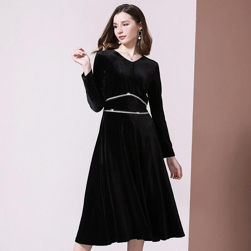 النساء تقع في فصل الشتاء اللباس سترة مصمم الفاخرة الماس فساتين مخمل طويل إمرأة الكلاسيكي الأسود اللباس V الرقبة خمر الإمبراطورية فساتين S-XL
