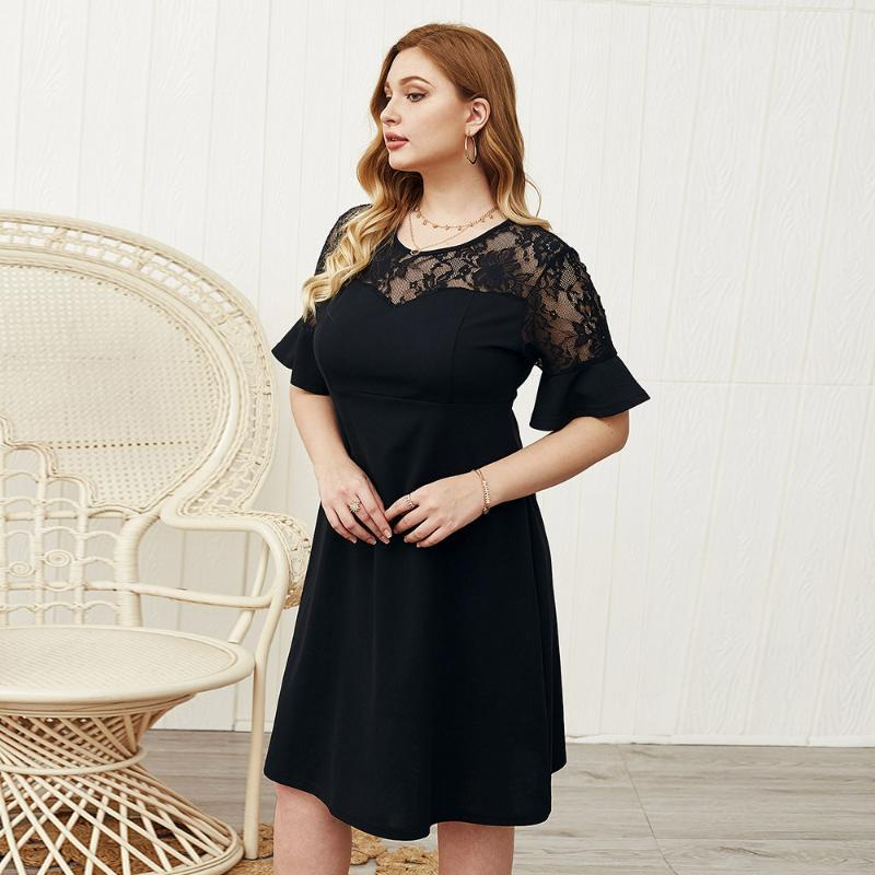 WHZHM caliente de la venta del partido Negro vestidos Femenina del cortocircuito del cordón de la llamarada de la manga remiendo más el tamaño 3XL 4XL de malla de encaje vestido Femenina A-Line
