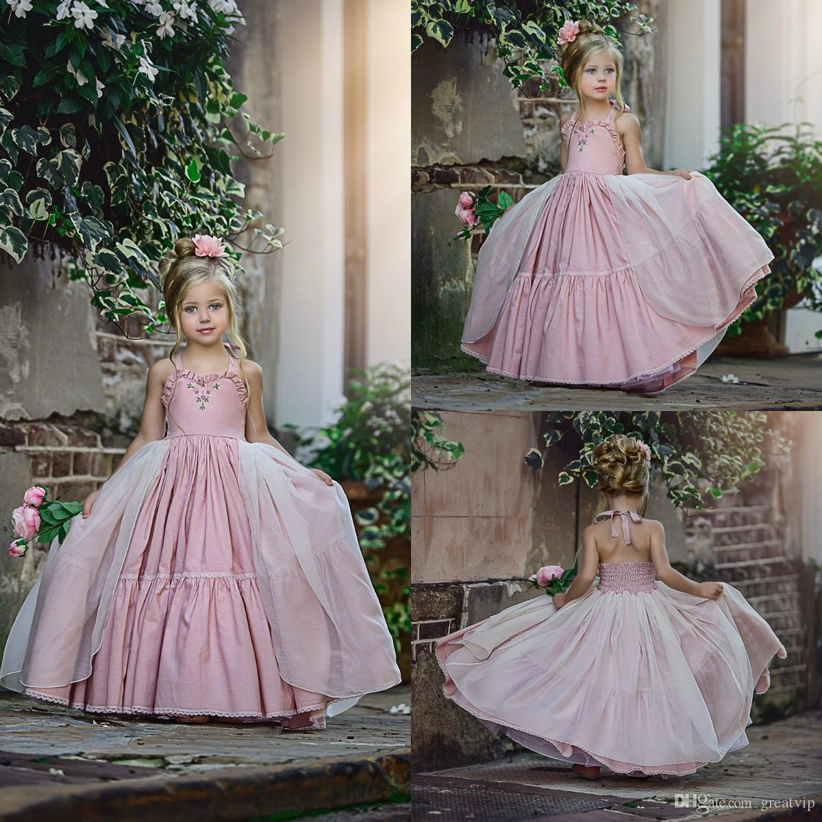 Lovely Pink Flower Girl Abiti Halter Raso Tulle Overskirts Piano Lunghezza Country Toddlers Bambini Party Dress Princess For Wedding