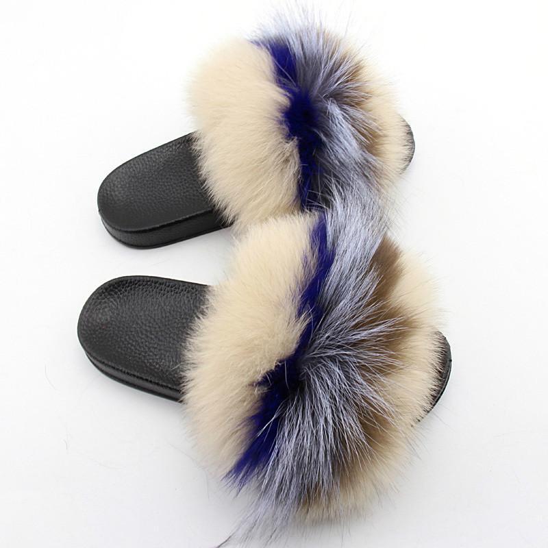 Coolsa Les vraies femmes en fourrure de renard Chaussons Fluffy Couleurs mélangées fourrure PU Slides Sandales de fourrure Femme en caoutchouc Maison Tongs Chaussures en peluche