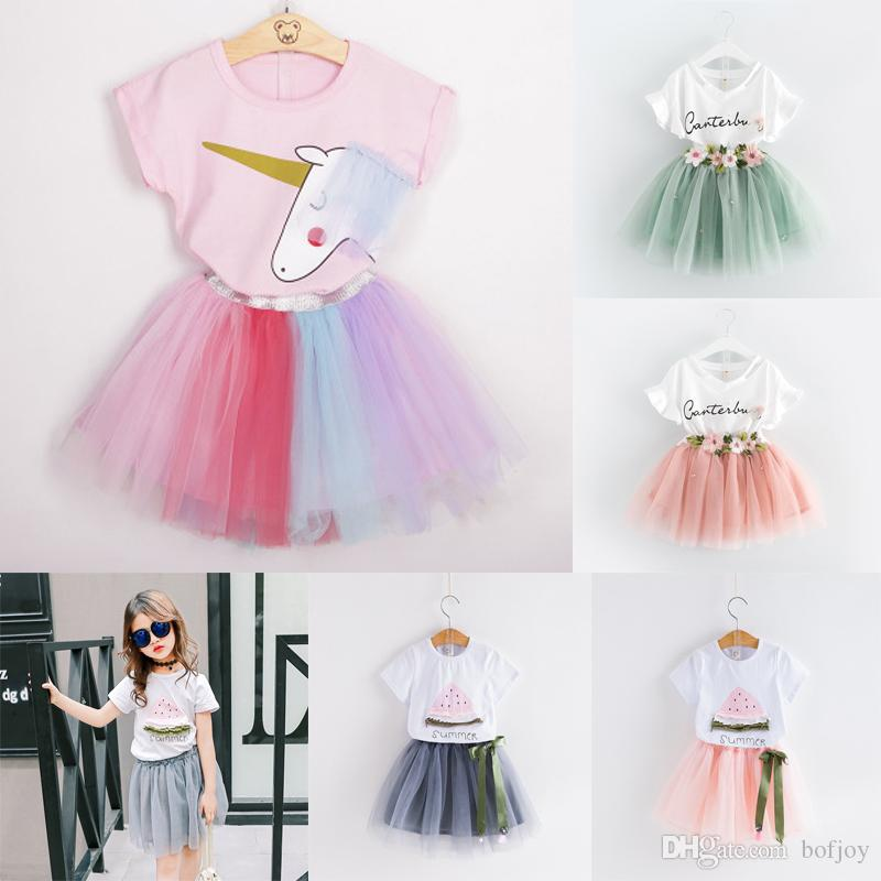 Baby girls skirts outfits girls clothes Letter print top+flower tutu skirts 2pcs/set summer Baby suit Boutique kids Clothes Sets