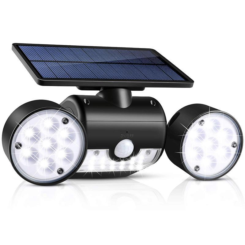 Güneş Sel Işıkları Açık Hareket Sensörü 30 LED Güneş Işık Çift Kafa Spot IP65 Su Geçirmez 360 ° Dönebilen Güneş Manzara Işık