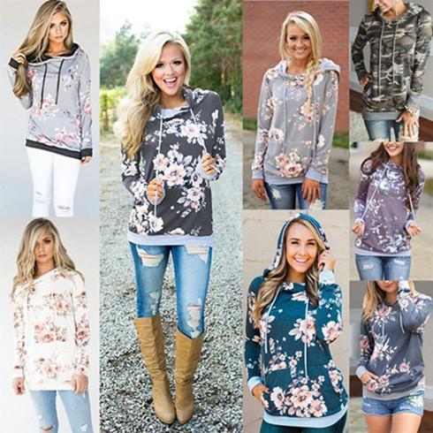 Femmes Sweats à capuche imprimé floral manches longues à capuche automne Sweatshirts Mode impression Tops Pull à capuche Filles Casual Sport OuterwearYFA290Q-3
