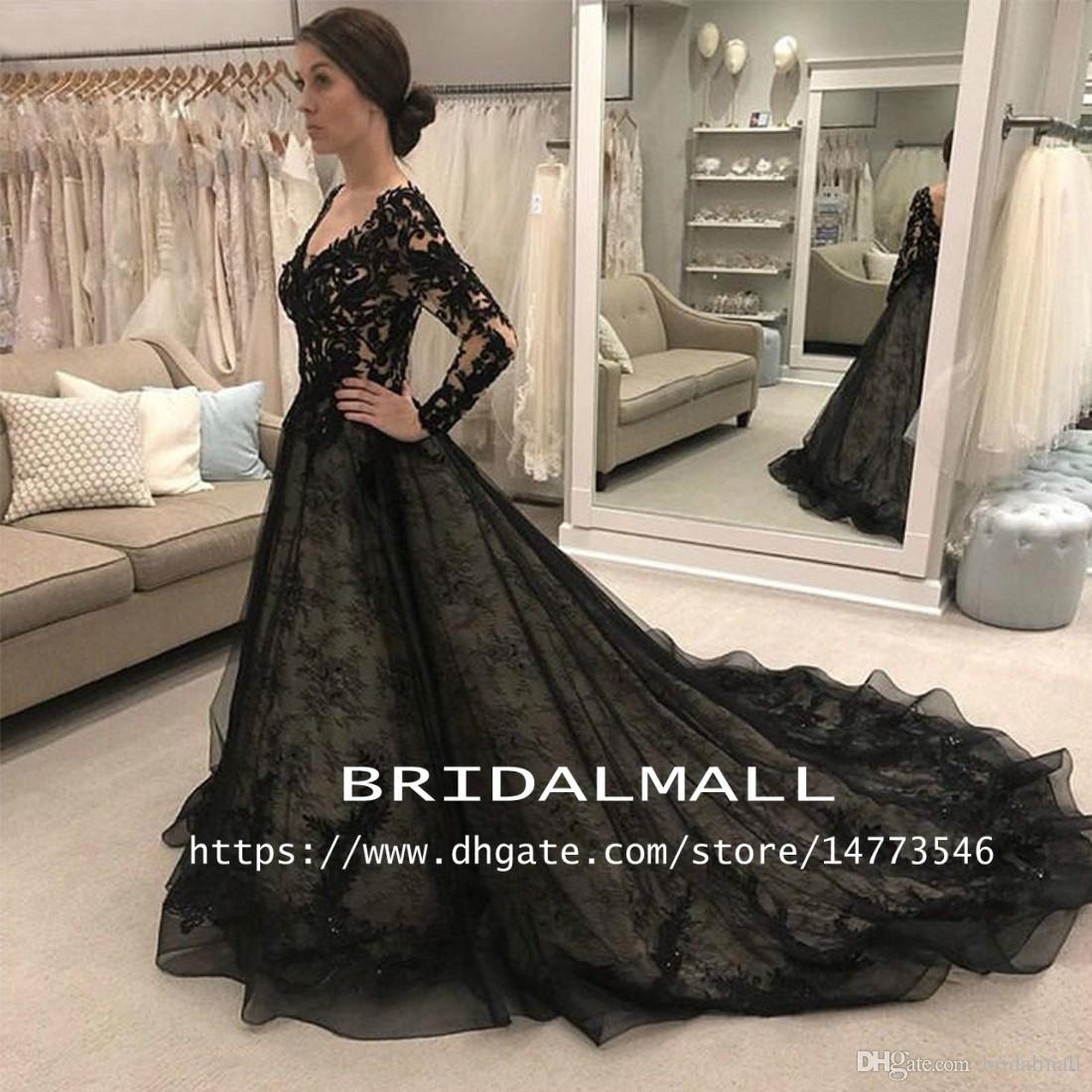 Discount Vestido De Noiva 2019 Appliqued Lace Black Wedding Dresses With  Long Sleeves Modest V Neck Gothic Bridal Gowns Plus Size Wedding Bride  Dress ...