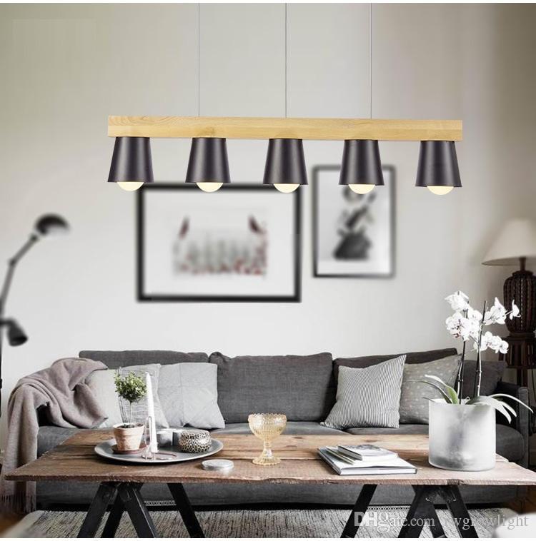 Dirigido sólida araña de madera nórdica lámpara creativa moderna minimalista de madera colgante para el comedor sala de estar dormitorio tienda de café bar Le-73