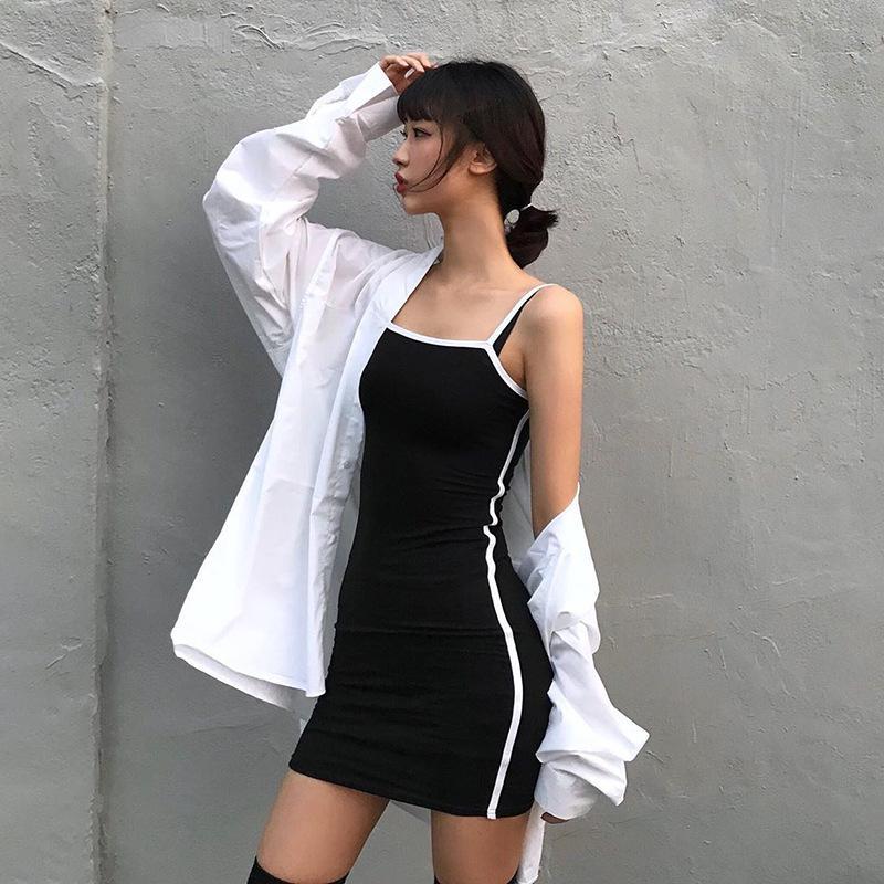 تصميم شعور فستان 2020 منتجات جديدة للمرأة مثير الجانب المشارب ضيق الورك حبال تنورة طوق تنورة اللون skirtTY