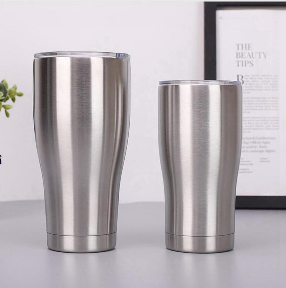 Acero inoxidable con la tapa del vaso de 40 oz 30 oz 20 oz 12 oz 10 oz Curva aislado al vacío de doble pared taza de cerveza taza de café LJJP280 de gran capacidad