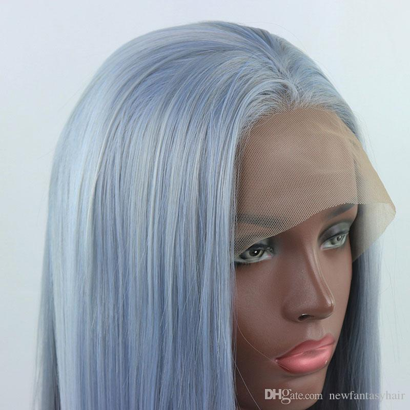 Ombre Light Blue Mix Grau lange Gerade Hand gebunden synthetische Spitze-Front-Perücke Glueless Hitzebeständige Faser Haar für Schwarz-weiße Frauen-Perücken