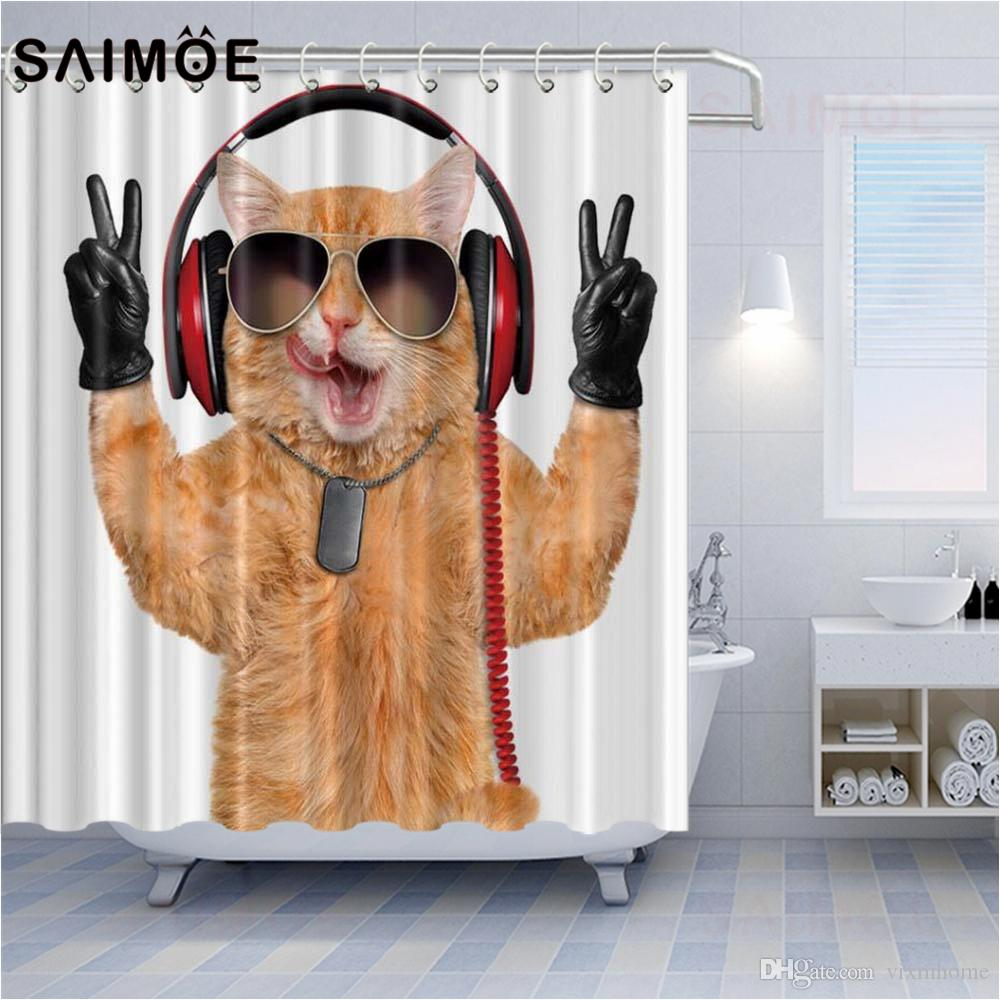 Cat Personality Shower Curtains Listening To DJ Music Cat With Sunglasses Bathroom Shower Curtain Decoration Cartoon Cute Cat Shower Curtain