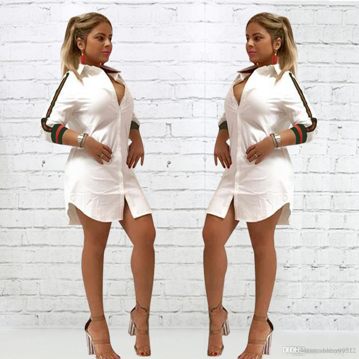 Womens allentato profondo scollo a V vestito casuale sexy maglietta vintage Turn-down Collar Stampa Button Abito Donne Maniche lunghe Vestito a camicia