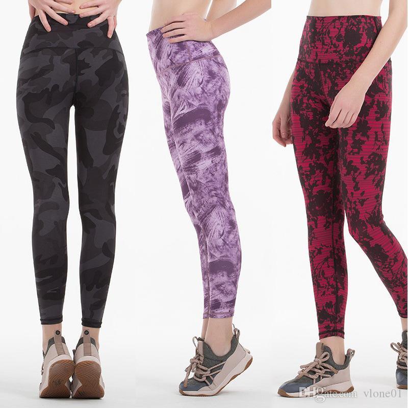 Лу фитнес спортивные штаны для йоги женщины девушки Высокая Талия бег йога наряды дамы спортивные леггинсы дамы камуфляж брюки тренировки