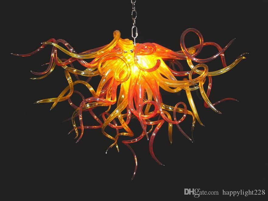 Янтарный цвет Стеклянный Светодиодный Потолочный светильник Высокое Качество Чихулы Стиль Мини Двушедшая Стеклянная Кристаллическая Люстра