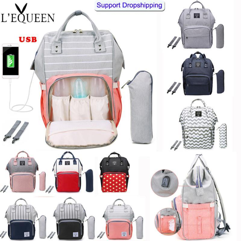 LEQUEEN Baby Nappy Diaper Bags Fashion Mummy Maternity Travel USB Large Backpack