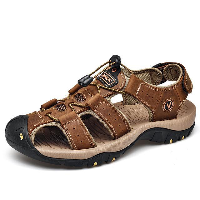 Männer Casual Schuhe Sandalen aus Leder Herren-römische Sandalen Mann-Sommer-Schuhe Männlich bequemen Schuh Strand-Sandelholz-Mode