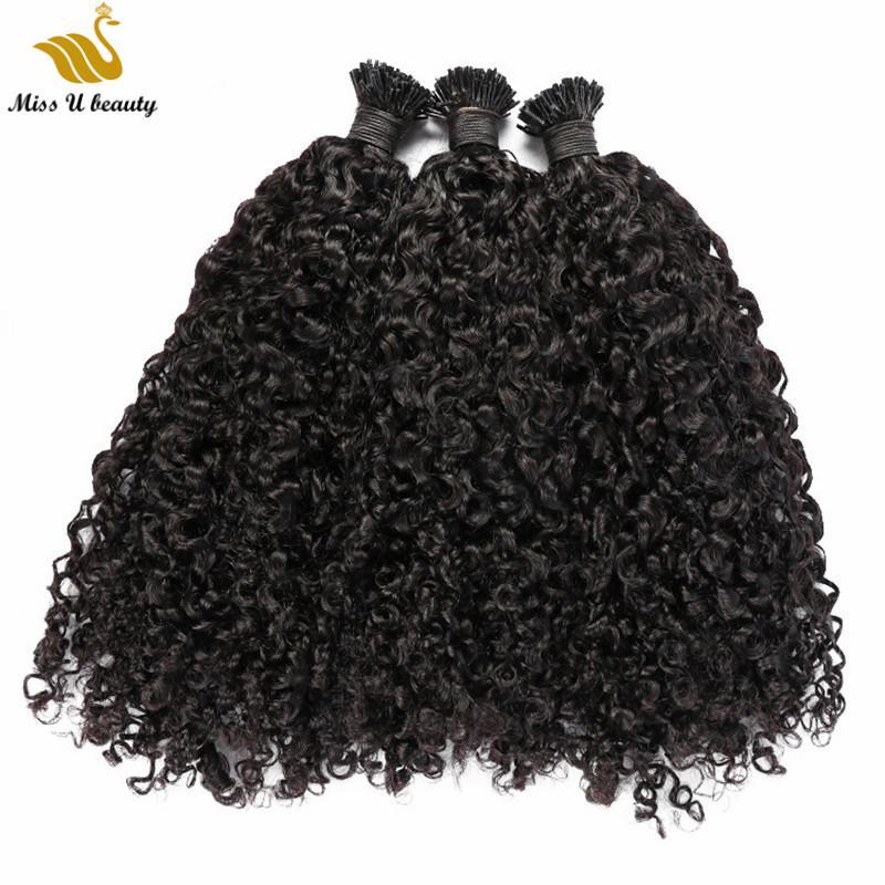 Natürliche schwarze Farbe I Spitze-Haar-Verlängerungen Curly Wellen-Menschenhaar Vor-verbundene Afro Curly Remy Haar 0,5 g / 0,8 g / 1 g / Strang