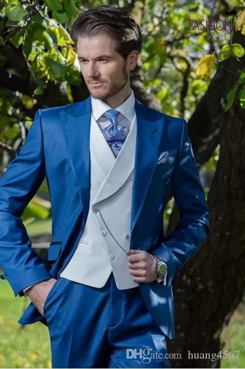 Nuovo stile One Button Blue Smoking dello sposo Sposo Risvolto Groomsmen Uomo Abiti Prom Blazer (Jacket + Pants + Vest + Tie) 141