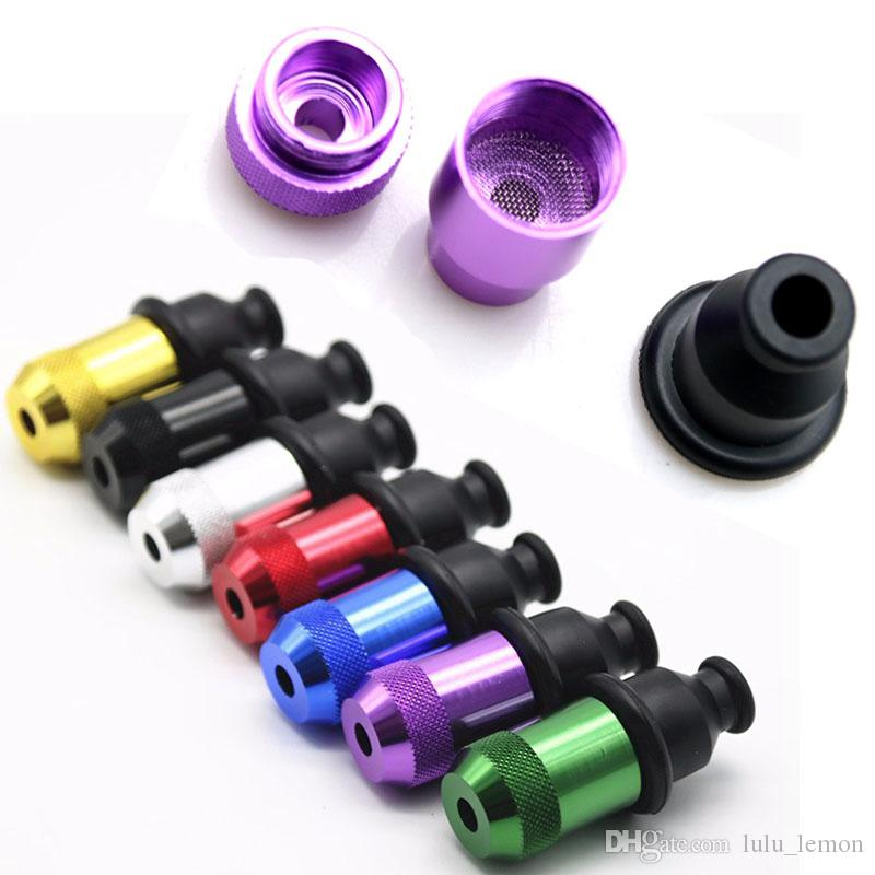 Wholesale Mini Nipple Pacifier Snuff Colorful 55mm 21mm OD Dry Herb Tobacco Smoking Pipe Metal Zeppelin Pipes Hand Detachable Plastic Pipes