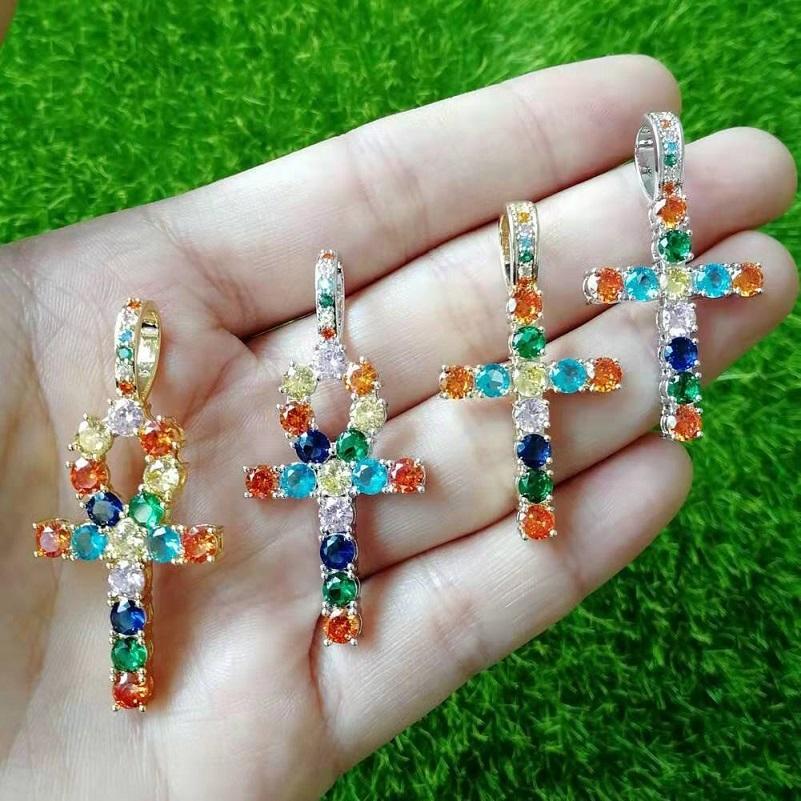 iced out Ankh collane ciondolo a croce per il progettista degli uomini di lusso del Mens colorato bling diamante Christian pendenti hip hop gioielli regalo collana