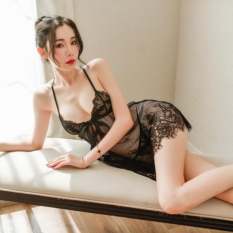 Новые сексуальные кнопки передней пижамы ресницы, кружева, ажурные сетки, соблазнительной подвязка, перспективы женского белья